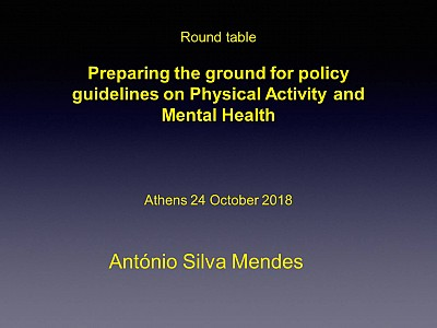 Preparing the ground for policy guidelines on Physical Activity & Mental Health